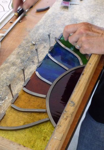 Using lead cames to build a stained glass panel