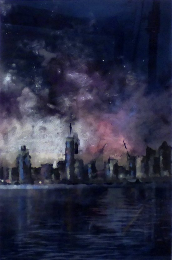 City Pollution mixed media painting by Lesley Passey at Vitreus Art