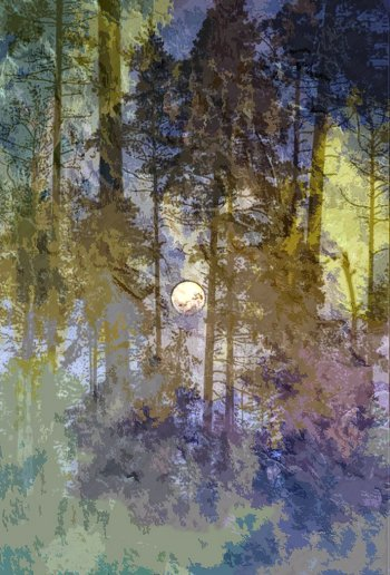 Woodland Moon mixed media painting by Lesley Passey on sale at Vitreus Art, Northants gallery