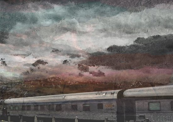 Train Pollution mixed media painting by Lesley Passey at Vitreus Art