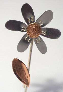 Liz Dee silversmith and jewellery maker - flower brooch insilver and copper at Vitreus Art