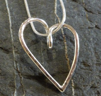 Heart necklace with snake chain in sterling silver by Vitreus Art jeweller Liz Dee