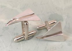 Silver cufflinks made by Liz Dee