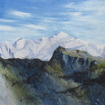 Lou Thomas - original oil painting Mont Blanc, in frame at Vitreus Art gallery Northants UK