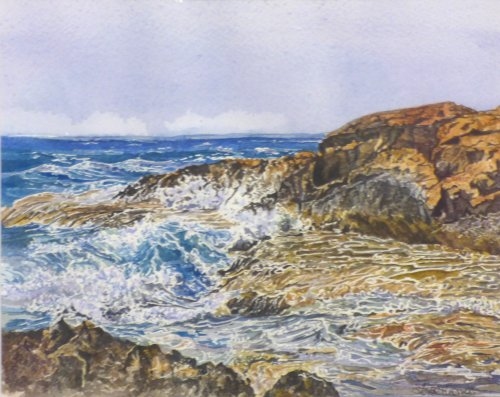 New art at Vitreus Art from Lou Thomas - original watercolour called Sardinian Sea