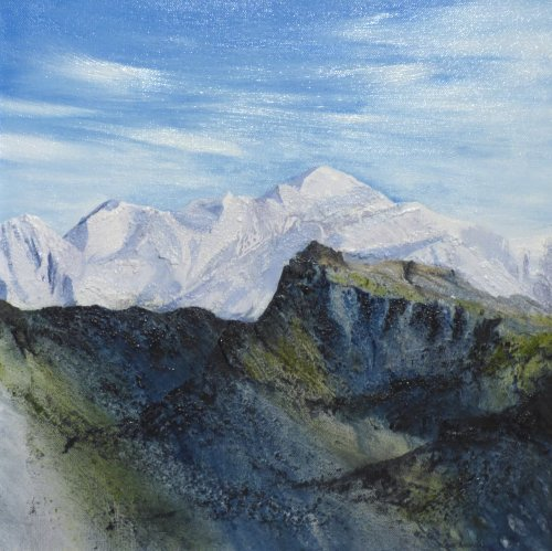 Mont Blanc oil painting new at Vireus art gallery, by Lou Thomas