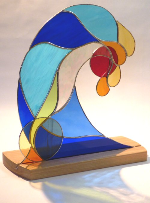 Low Sun Surf freestanding stained glass art by Vitreus Art