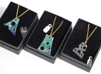 Abstract enamel necklaces made by Northants artist Mary Standing