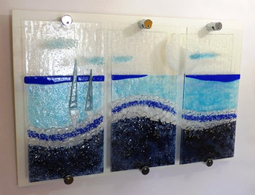 Egyptian Blue - fused glass panel by Vitreus Art