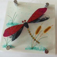 Millpond - fused glass art by Jenny Timms