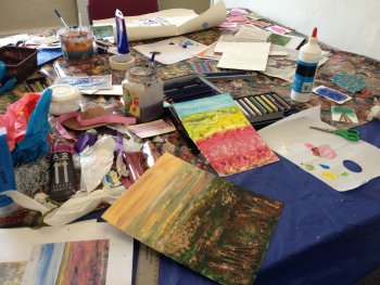 Mixed media can include many materials, inks, paints, glue, beads and more