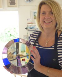 Sally with her stained glass mirror