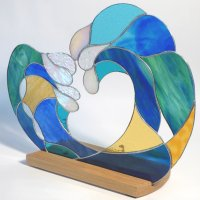Ocean Breeze - freestanding stained glads art by Vitreus Art
