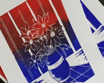 Make several greetings cards from your own lino-print at Vitreus Art