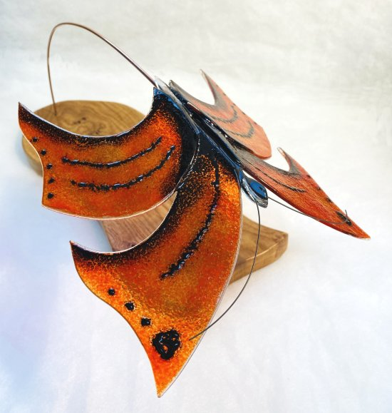Original fused glass flowers by Vitreus Art, on show at the gallery near Towcester and Milton Keynes in Northants - Red Admiral, glass wood and metal art