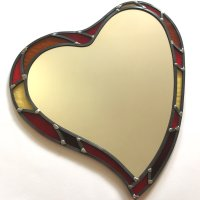 Red and orange heart mirror - click to view or buy online