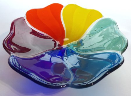 Multi coloured fused glass bowl by Roger Loxton, new at Vitreus Art