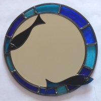 Round stained glass mirror in blues