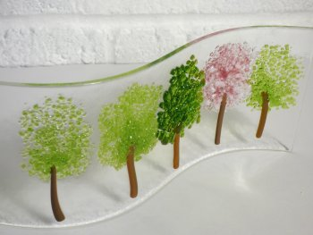 Sam Burke Fused glass art Spring Trees