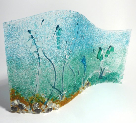 Underwater and seaweed themed fused glass art at Vitreus Art gallery