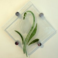 Snowdrop fused glass wall art - click to view