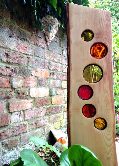 Solstice - glass and wood garden sculpture by Vitreus Art