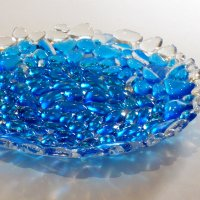 New fused glass pebble bowl in blue and clear glass by Vitreus Art, UK creators of fused and stained glass art