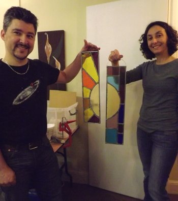 Two stained glass leaded garden panels made on a Vitreus Art beginners class