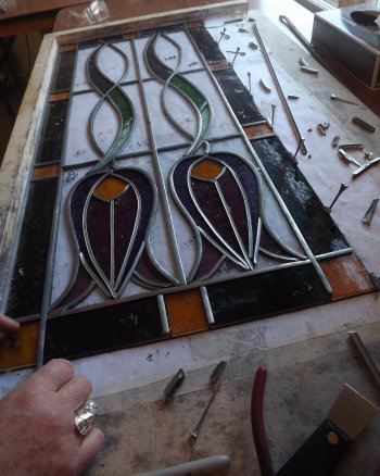 Leaded stained glass window made by Ros on a project course