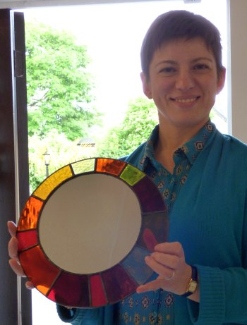 Make your own stained glass mirror on our beginners class