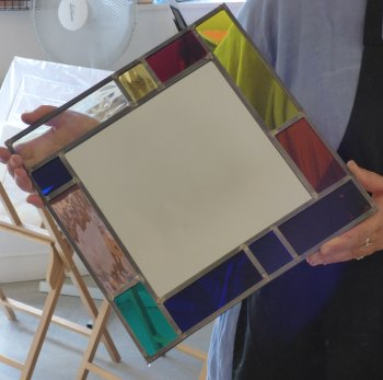 Make your own square stained glass mirror