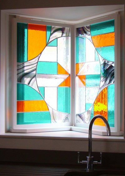 Stained glass windows made for a modern home by Vitreus Art