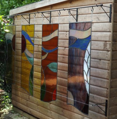 An outdoor feature - Four Seasons in Stained glass