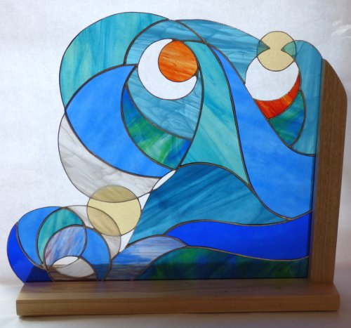 Stained glass art on a wooden base - Summer Sun