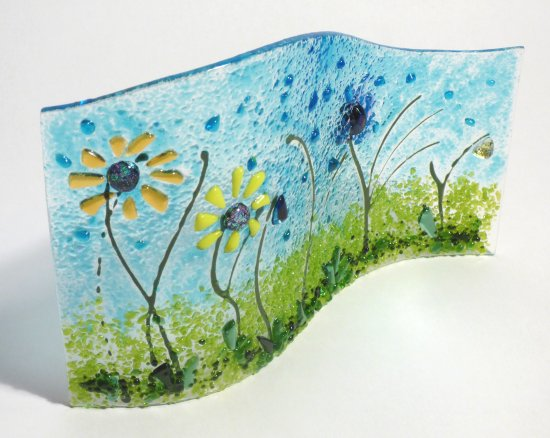 Sunflowers themed fused glass art at Vitreus Art gallery