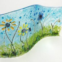 Sunflower Field fused and slumped glass atrt from Vitreus Art