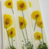 Sunflowers - fused glass wall art by Jenny Timms of Vitreus Art