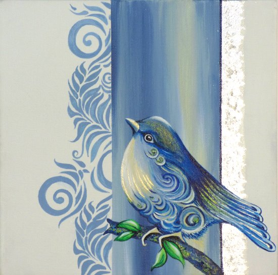 Tina Ashton new paintings at Vitreus Art - Blue Bird, on canvas