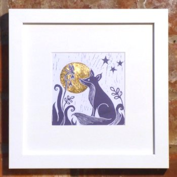 TIna Ashton FOx and Bird linocut print in white frame at Vitreus Art