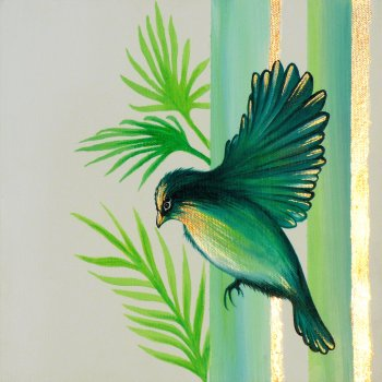 Tina Ashton Green Bird small canvas original painting at Vitreus Art
