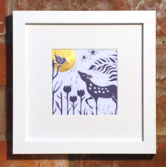 Tina Ashton Moon and Deer linocut print in white frame at Vitreus Art