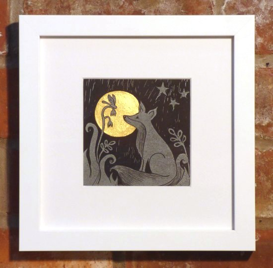 Tina Ashton linocut print with gold embellishment in white frame at Vitreus Art