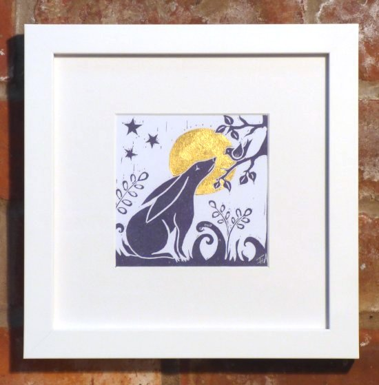 Tina Ashton Hare and Moon linocut print in white frame at Vitreus Art