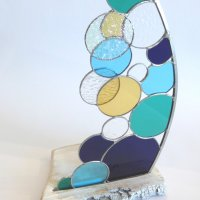 Tintagel stained glass sculpture by Vitreus Art