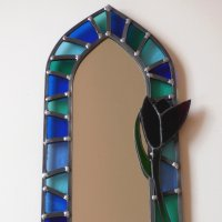 Tulip mirror in blue glass by Vitreus Art - click to view or buy online