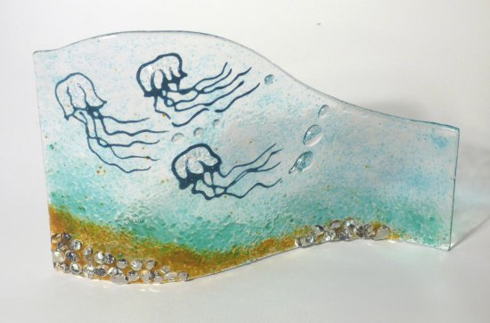 Under The Sea - water themed fused glass art by Jenny Timms of Vitreus Art, on show at the gallery near Towcester and Milton Keynes in Northants