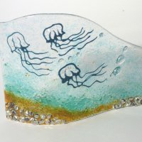 UNder The Sea fused glass art - click to view