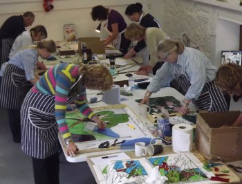 Cornwall 5-day stained glass course students