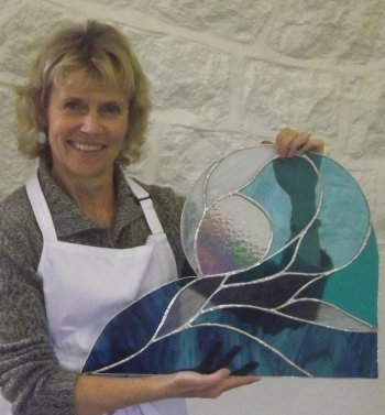A stained glass panel made by Val in Cornwall