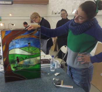 A leaded stained glass panel made on the Vitreus Art 5 day course in Cornwall